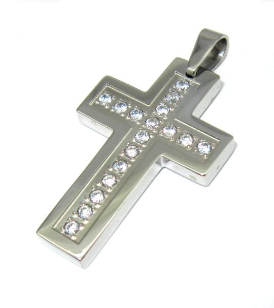 přívěsek chirurgická ocel kříž s kameny zirkon