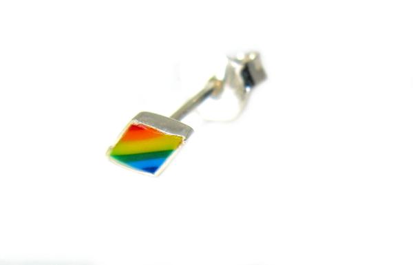 stříbrné náušnice na puzetku tvar kulatý KOSOČTVREC barevný