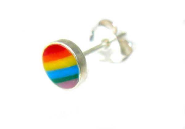stříbrné náušnice na puzetku tvar kulatý BAREVNÝ duha rainbow