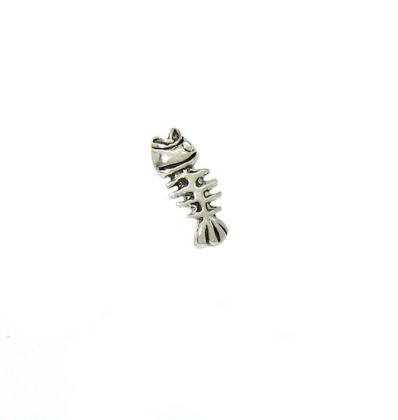 stříbrné náušnice na puzetku vzor fishbone rybička