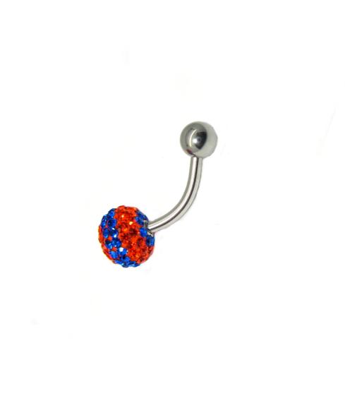 piercing do pupíku s kamínky swarovski, ocelový piercing do pupíku