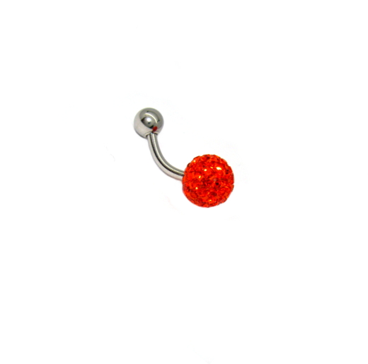 Body piercing do pupíku s kamínky Swarovski červené barvy