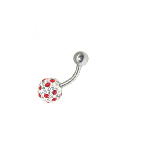 piercing do pupíku s kamínky swarovski barva červeno bílá