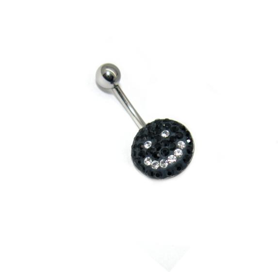 Body piercing do pupíku s kamínky Swarovski černý smail