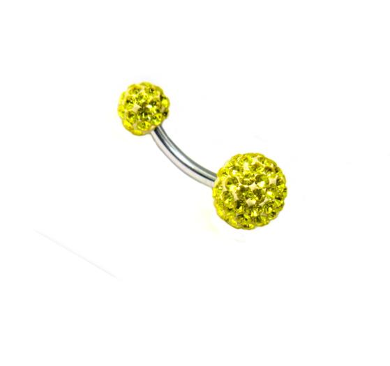 piercing do pupíku s kamínky swarovski kuličky žlutá barva