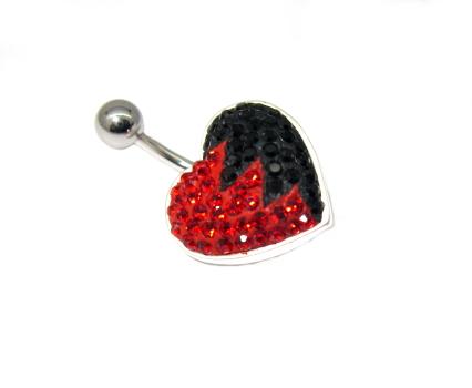 piercing do pupíku s kamínky swarovski červeno černé srdce
