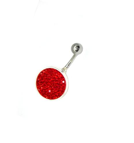piercing do pupíku s kamínky swarovski červené kaminky placka