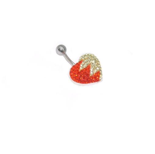 piercing do pupíku s kamínky Swarovski srdce dvou barev