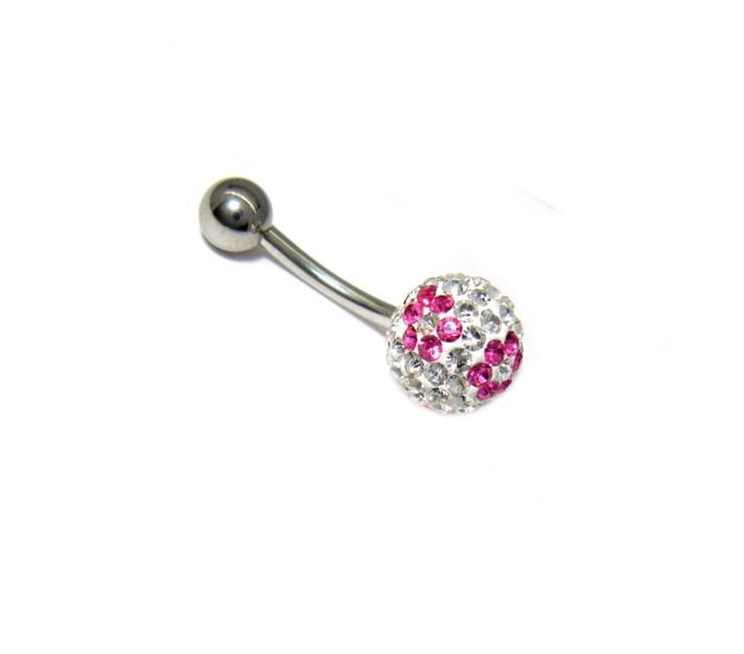 piercing do pupíku s kamínky swarovski růžovo bílý