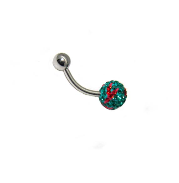 piercing do pupíku s kamínky Swarovski barva zeleno červená
