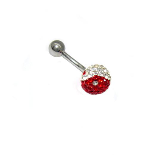 piercing do pupíku s kamínky swarovski červeno bílý Jing Jang