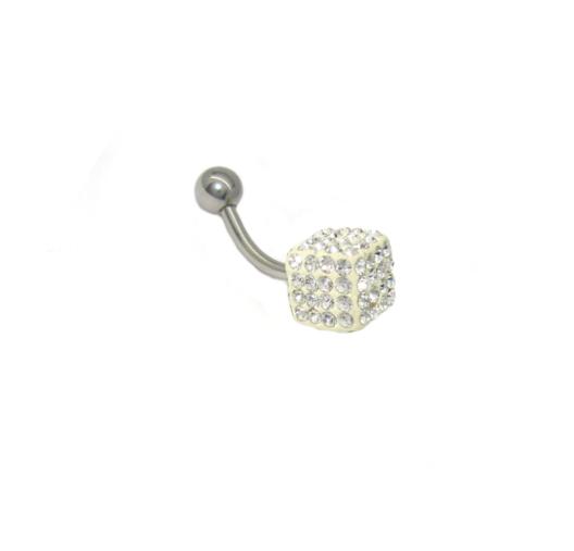 piercing do pupíku s kamínky swarovski tvar kostka bílá