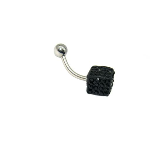 piercing do pupíku s kamínky swarovski černá hrací kostka