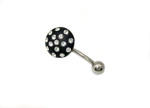 piercing do pupíku s kamínky Swarovski placka barvy černo bílá