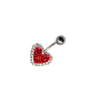 piercing do pupíku s kamínky swarovski bílo červené srdce