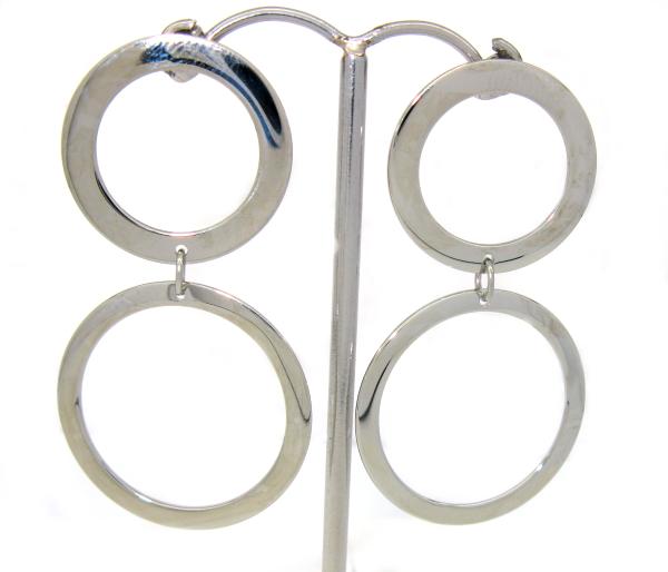 Náušnice chirurgická ocel dva kruhy lesk
