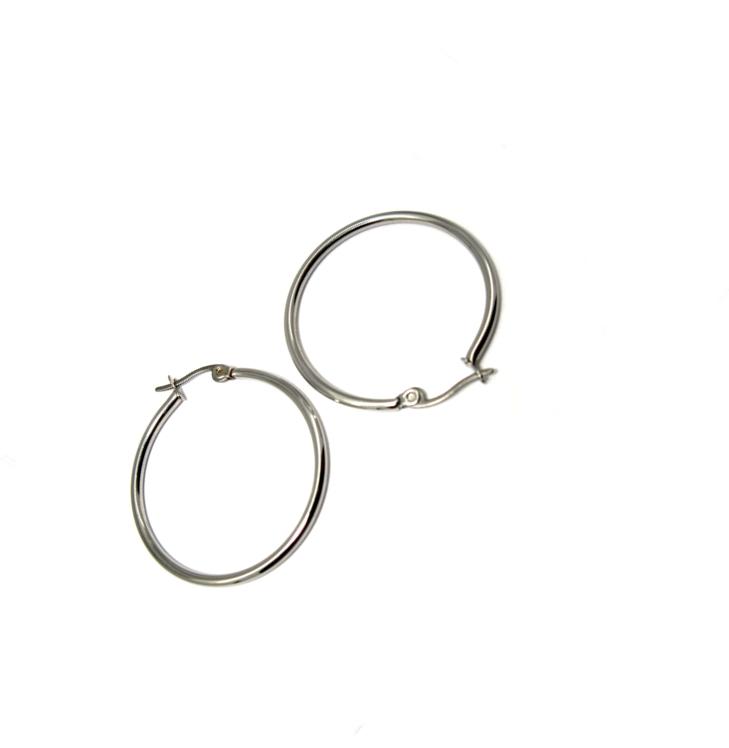 Náušnice chirurgická ocel kruhy průměr 30 mm uzávěr zaklapávací