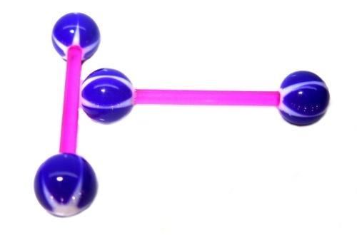 Piercing do jazyka UV, bioplast fialová bílá