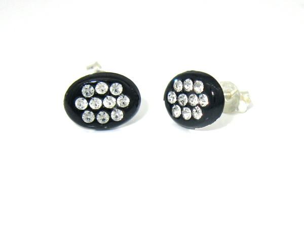 Stříbrné náušnice na puzetku černé kulaté s kamínky zirkon