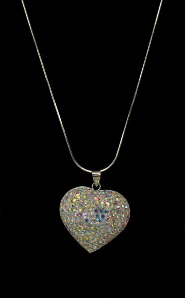 Stříbrný řetízek s přívěskem kamínky Swarovski tvar srdce větší