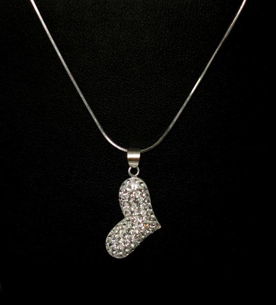 Stříbrný řetízek s přívěskem kamínky Swarovski tvar srdce