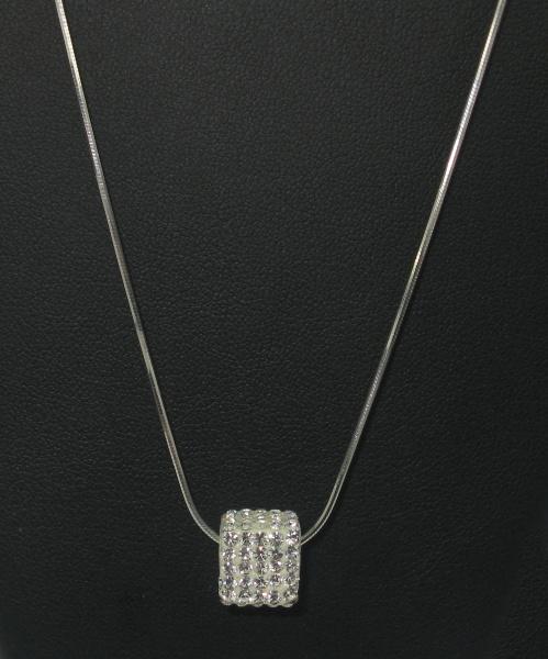 Stříbrný řetízek s přívěskem se zirkony Swarovski bílé tvar kostka
