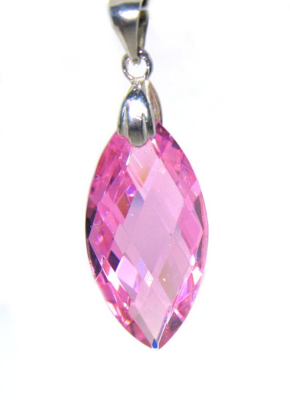 Stříbrný přívěsek Swarovski elements růžový zirkon uzávěr stříbro