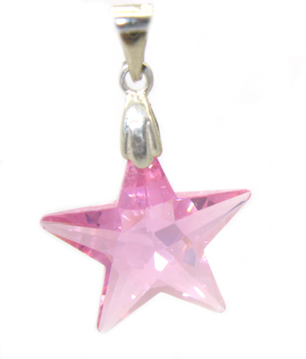 Stříbrný přívěsek Swarovski elements růžový zirkon hvězda