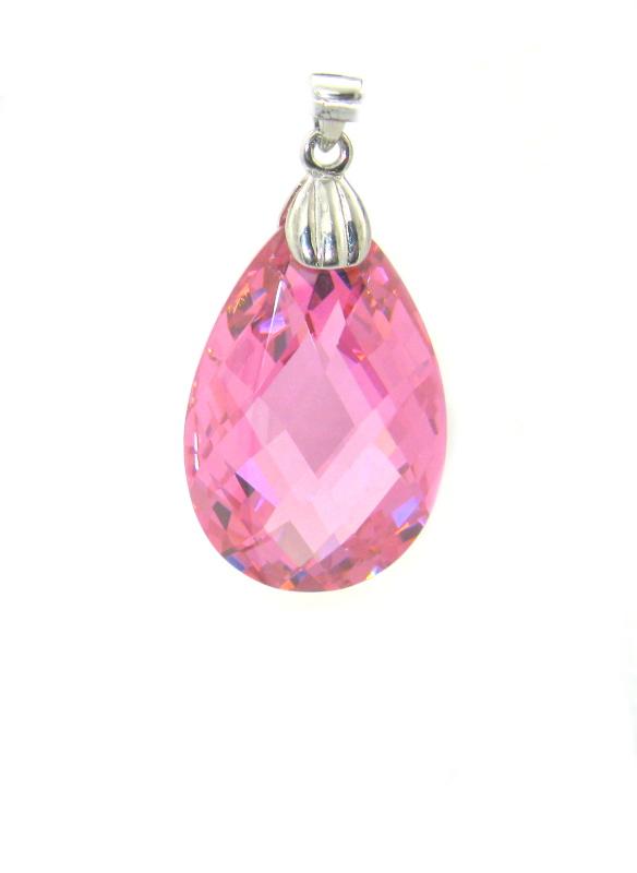 Stříbrný přívěsek Swarovski elements růžový zirkon tvar kapka