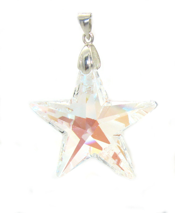Stříbrný přívěsek Swarovski elements čirý bílý zirkon hvězda