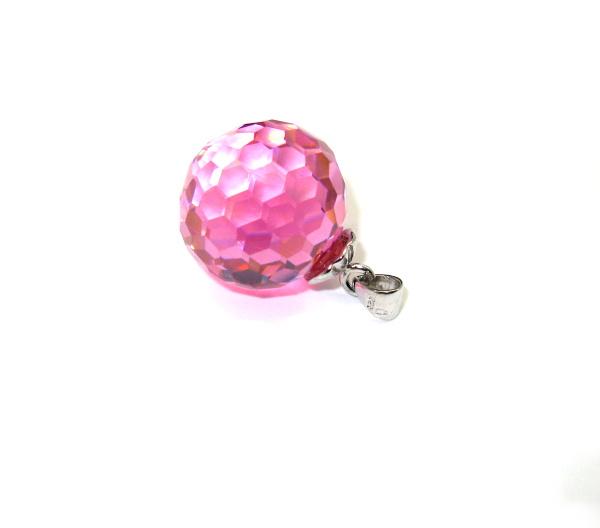 Stříbrný přívěsek Swarovski elements růžová kulička zirkon