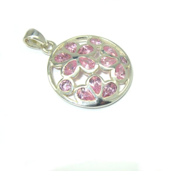 Stříbrný přívěsek s kamínky zirkon růžový