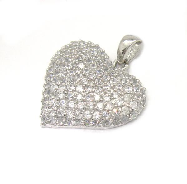 Stříbrný přívěsek Swarovski komponent srdce s mnoha kamínky