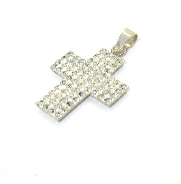 Stříbrný přívěsek křížek s kamínky zirkon 925/1000 swarovski elements