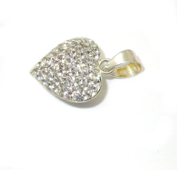 Stříbrný přívěsek s kamínky Swarovski srdíčko bílé