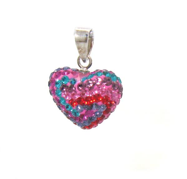 Stříbrný přívěsek s kamínky Swarovski tvar srdce různé barvy