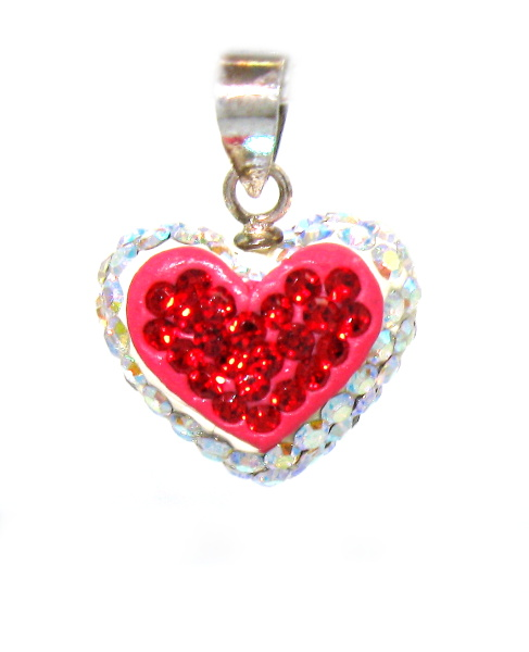 Stříbrný přívěsek s kamínky Swarovski tvar srdce červeno bílé