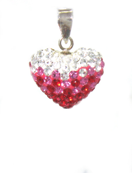 Stříbrný přívěsek s kamínky Swarovski tvar srdce růžovo bílé