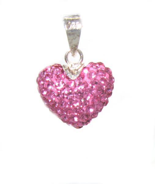 Stříbrný přívěsek s kamínky Swarovski tvar srdce růžové zirkony