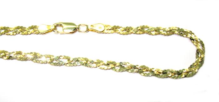 Stříbrný řetízek pozlaceny, zlacený řetízek 42 cm