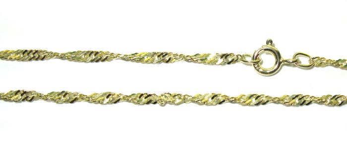 stříbrný řetízek pozlacený lambáda singapore 45 cm