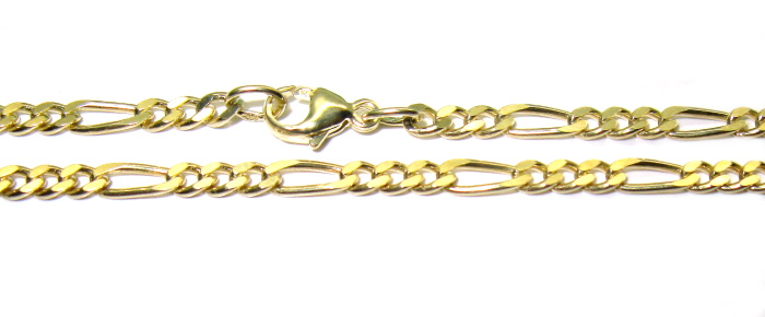 stříbrný řetízek pozlacený figaro 45 cm