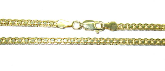 stříbrný řetízek pozlacený bismark 50 cm