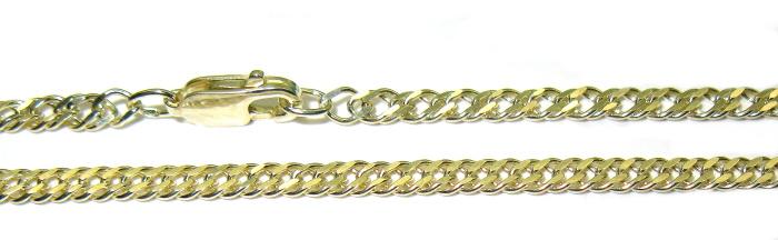 stříbrný řetízek pozlacený rombo 50 cm