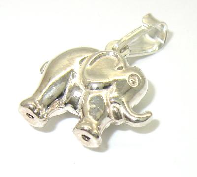 stříbrný přívěsek slon oboustranný lesk bez kamínku 925/1000