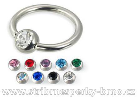 Body piercing 316/L do rtu, ucha kroužek barva kamínku - červená