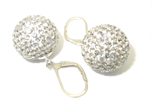 stříbrné náušnice s kamínky Swarovski, koule 15 mm bílé