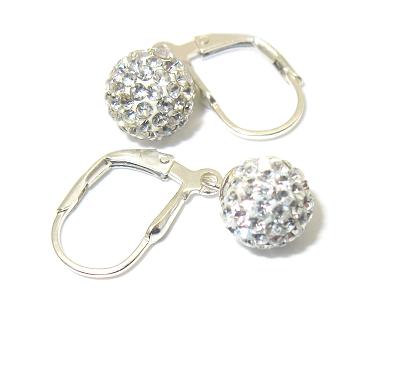 stříbrné náušnice s kaminky Swarovski, koule bílé 8 mm