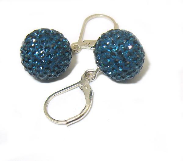 stříbrné náušnice Swarovski koule matně modré průměr 12 mm