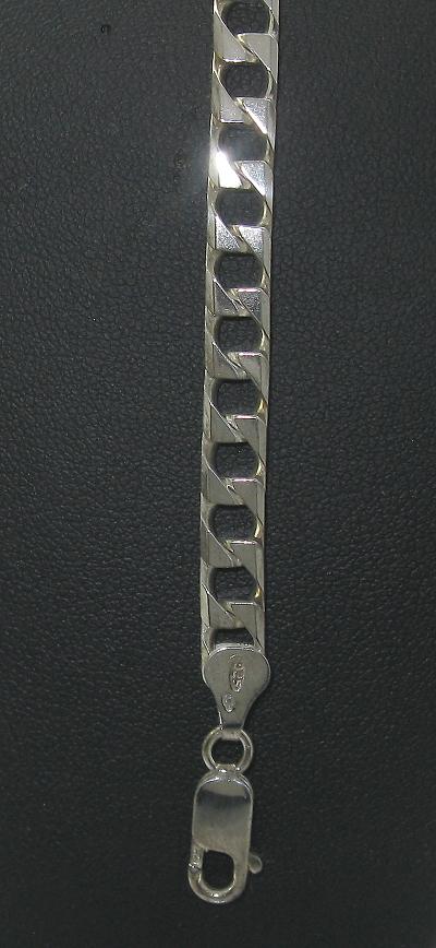stříbrný náramek panzer masivní 21 cm